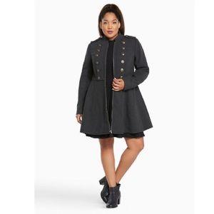 Torrid long grey military coat